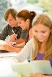 Os adolescentes estudam no estudante da leitura da biblioteca da High School Imagem de Stock