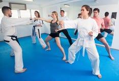 Os adultos que tentam dominar movimentos novos durante o karaté classificam imagens de stock