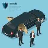 Os agentes da segurança protegem o carro com pessoa do VIP Foto de Stock