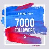 Os agradecimentos do vetor projetam o molde para amigos e seguidores da rede Obrigado cartão de 7 seguidores de K Imagem para red Imagem de Stock Royalty Free