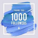Os agradecimentos do vetor projetam o molde para amigos e seguidores da rede Obrigado 1 cartão dos seguidores Imagem para redes s Imagem de Stock Royalty Free