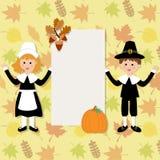 Os agradecimentos felizes que dão com peregrino trajam o vetor das crianças Imagem de Stock Royalty Free