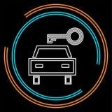 Os alugueres de carros do vetor etiquetam, logotipo, ícone, emblema ilustração royalty free