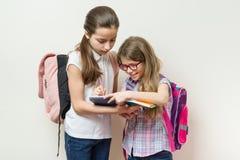 Os alunos, duas meninas com trouxas escrevem em um caderno Parede brilhante do fundo na escola fotos de stock