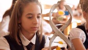 Os alunos na farda da escola estão estudando a disposição do ADN que senta-se na sala de aula filme