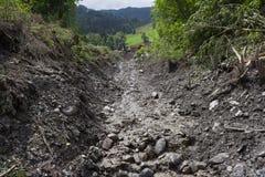 Os aluviões scar os montanheses de Áustria que seguem a chuva pesada Foto de Stock Royalty Free