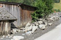 Os aluviões scar os montanheses de Áustria que seguem a chuva pesada UE Fotos de Stock Royalty Free