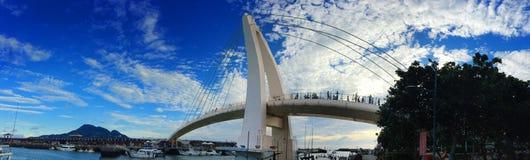 Os amantes constroem uma ponte sobre em Tamsui em Taiwan Fotografia de Stock