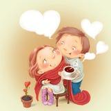 Os amantes equipam e o chá bebendo da mulher Fotos de Stock Royalty Free