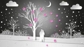 Os amantes no fundo do inverno ajardinam sob uma árvore de florescência Flores e neve do voo Natal de papel da textura, Valentin fotografia de stock