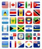 Os Americas e o ícone quadrado liso das bandeiras das caraíbas ajustaram 1 Foto de Stock Royalty Free