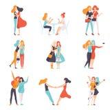 Os amigos bonitos das mulheres que passam o bom tempo ajustaram-se junto, reunião feliz, ilustração fêmea do vetor da amizade ilustração stock