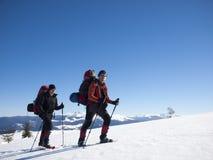 Os amigos estão viajando através das montanhas Imagens de Stock Royalty Free