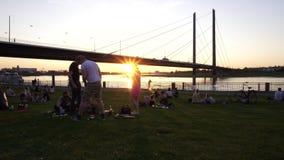 Os amigos felizes novos descansam no banco de Rhine River, Dusseldorf, Alemanha vídeos de arquivo