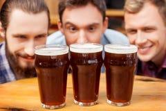 Os amigos masculinos atrativos estão olhando em bebidas dentro Imagem de Stock Royalty Free