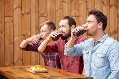 Os amigos masculinos consideráveis estão entornando a cerveja pilsen na barra Fotos de Stock Royalty Free