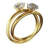 Os anéis de diamante do ouro entrelaçaram Fotos de Stock Royalty Free