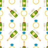 Os anéis ornamentado do salão de beleza do casamento e da joia sem emenda do ouro do teste padrão do champanhe o fundo nupcial ro Fotografia de Stock Royalty Free