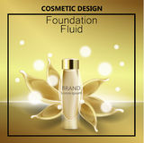 Os anúncios glamoroso da fundação, a garrafa de vidro com fundação e a fundação espirram, anúncios elegantes para o projeto, veto foto de stock