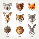Os animais ajustaram os focinhos principais do ícone ilustração do vetor