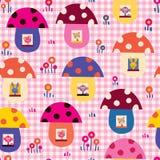 Os animais bonitos do bebê no cogumelo abrigam o teste padrão das crianças Foto de Stock Royalty Free