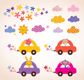 Os animais bonitos que conduzem o material de crianças dos carros projetam o grupo de elementos Fotos de Stock Royalty Free