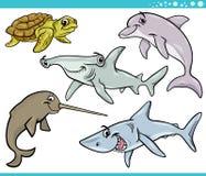 Os animais da vida marinha ajustaram a ilustração dos desenhos animados Fotografia de Stock