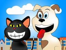 Os animais de estimação na cidade mostram Cat And Canine doméstica ilustração stock