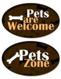 Os animais de estimação são zona bem-vinda Fotografia de Stock Royalty Free