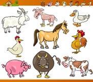 Os animais de exploração agrícola ajustaram a ilustração dos desenhos animados Imagem de Stock
