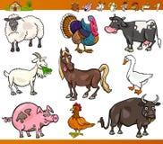 Os animais de exploração agrícola ajustaram a ilustração dos desenhos animados Imagens de Stock