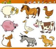 Os animais de exploração agrícola ajustaram a ilustração dos desenhos animados Imagens de Stock Royalty Free