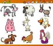 Os animais de exploração agrícola ajustaram a ilustração dos desenhos animados ilustração do vetor