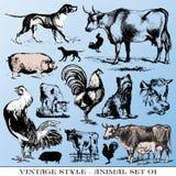 Os animais de exploração agrícola ajustaram-se Foto de Stock Royalty Free