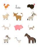 Os animais de exploração agrícola ajustaram-se no fundo branco, liso, vetor Imagens de Stock Royalty Free