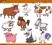 Os animais de exploração agrícola ajustaram a ilustração dos desenhos animados Imagem de Stock Royalty Free