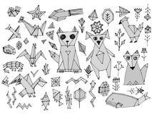 Os animais de mar dos pássaros dos peixes da raposa do gato de Grey Dog e as plantas, esboço preto isolado no fundo branco, rabis ilustração royalty free