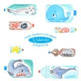 Os animais de mar tristes em umas garrafas plásticas são infelizes com poluição do oceano ilustração do vetor