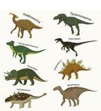 Os animais do período jurássico ajustaram ícones Foto de Stock