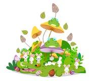 Os animais engraçados felizes de easter ficam junto no cogumelo ilustração do vetor