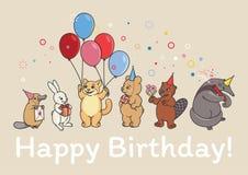 Os animais party, um castor, um urso, um tamanduá, um gato, um ornitorrinco, um coelho ilustração royalty free
