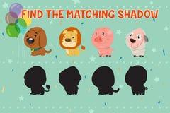 Os animais sombreiam o jogo de harmonização para crianças Imagens de Stock Royalty Free