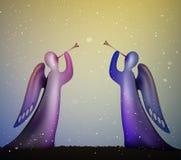Os anjos denominados com trombeta, melodia do inverno, dois anjos picam e azul com trombeta, música do Natal, ilustração stock