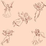 Os anjos Esboço do lápis à mão Cores do vintage Vetor ilustração stock