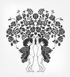 Os anjos mantêm o estêncil da ilustração do vetor das flores isolado ilustração royalty free