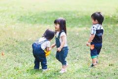 Os anos de idade bonitos das crianças 2-3 que jogam a bola no jardim fotos de stock