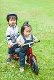 Os anos de idade bonitos das crianças 2-3 que montam o Strider no jardim Foto de Stock