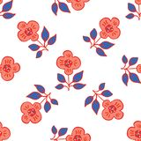 os anos 50 denominam Daisy Flower Seamless Vetora Pattern retro Mão floral popular tirada verão ilustração royalty free