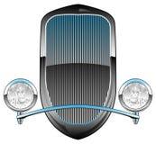 os anos 30 denominam Rod Car Grill quente com faróis e ilustração do vetor da guarnição de Chrome imagens de stock