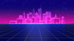 Os anos 80 futuristas retros da cidade do arranha-céus denominam a ilustração 3d Fotografia de Stock Royalty Free